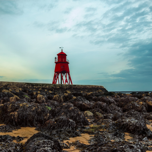 """Groyne at low tide"" stock image"