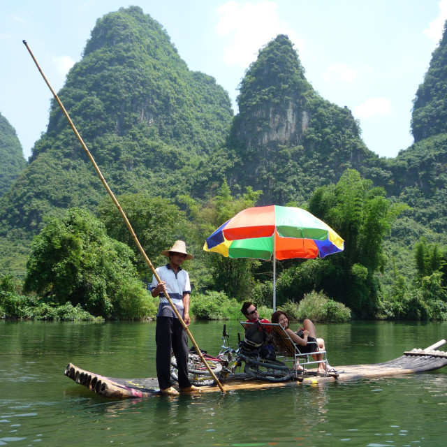 """Floating along the Li River"" stock image"