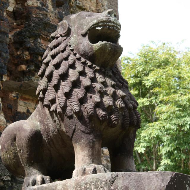 """Pre-Angkorian lion"" stock image"