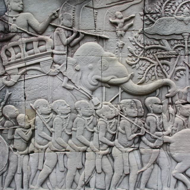 """""""Carvings at Angkor Wat"""" stock image"""