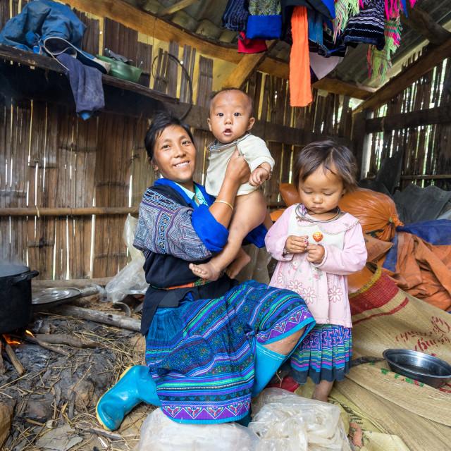 """Hmong ethnic minority women with their children"" stock image"