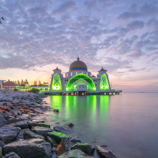 """Malacca Straits Mosque (Masjid Selat) during sunrise"" stock image"