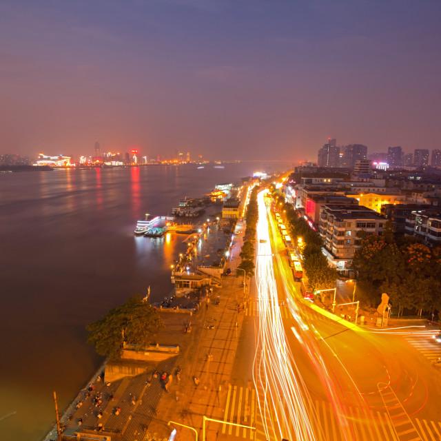 """""""Wuhan Hubei China at dusk"""" stock image"""