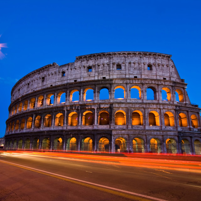 """colosseum rome italy night"" stock image"