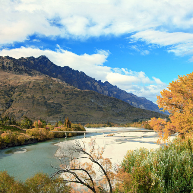 """""""Mountain and River in Queenstown"""" stock image"""