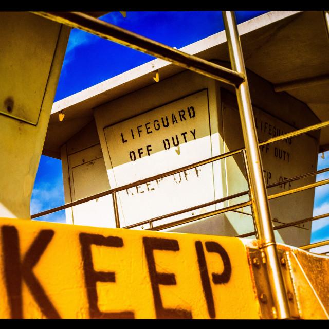 """""""Lifeguard Tower Close-up"""" stock image"""