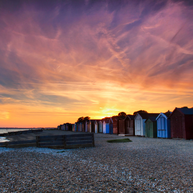 """Mersea Beach Hut sunset"" stock image"