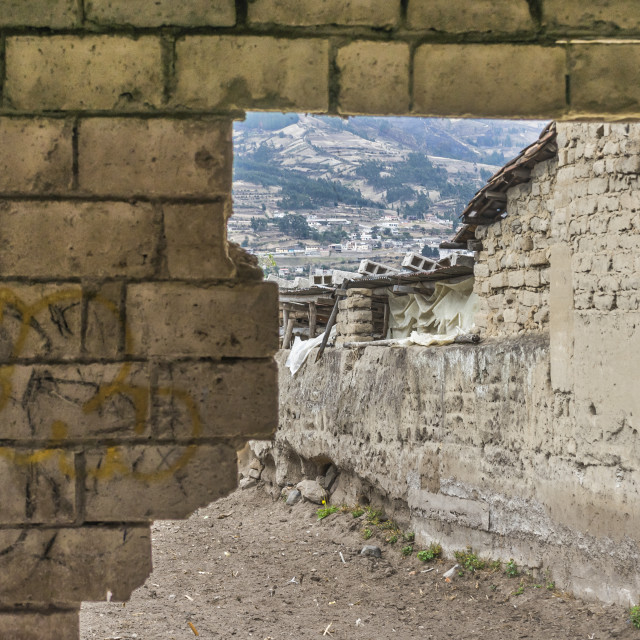 """Broken Wall at Otavalo Outsides in Ecuador"" stock image"