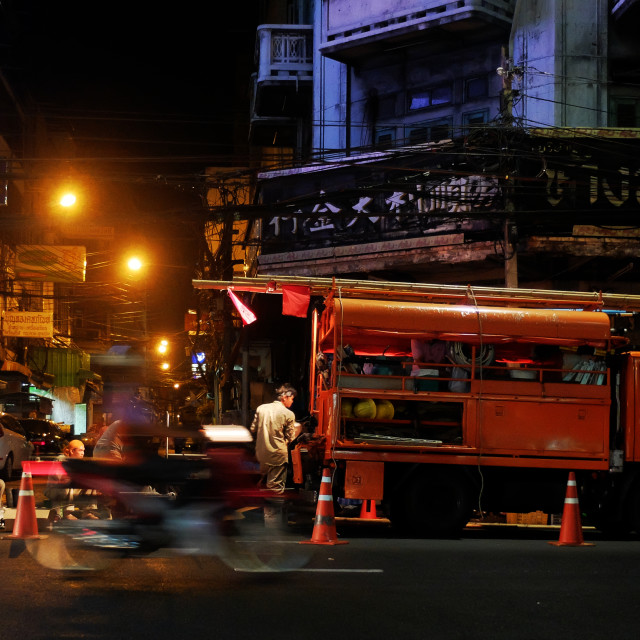 """At night in Chinatown, Bangkok"" stock image"