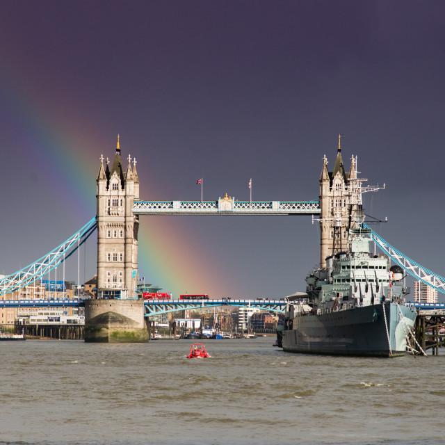"""Tower Bridge and the rainbow"" stock image"