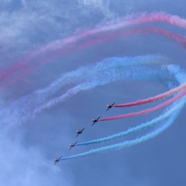 """Red Arrows cloud of colour"" stock image"