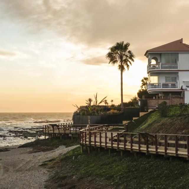 """""""Beach villa at sunset"""" stock image"""