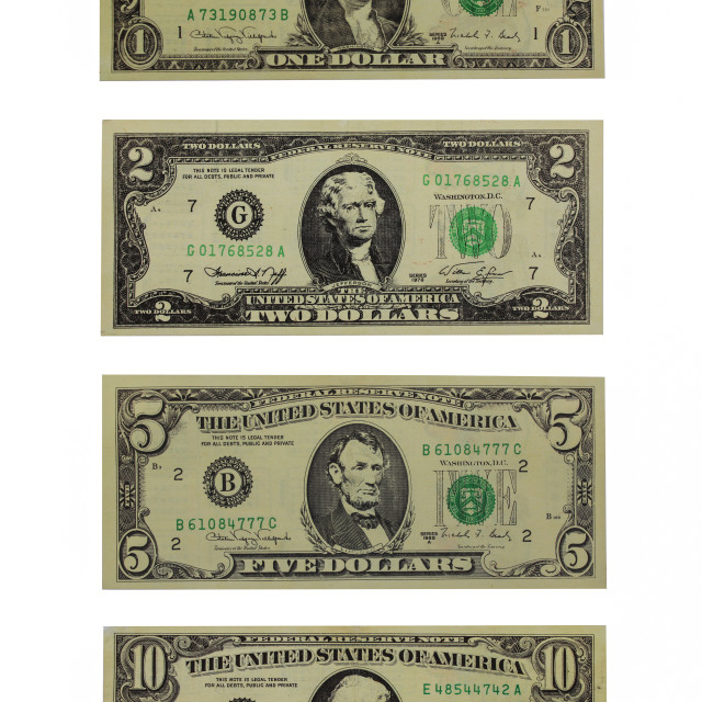 """American dollars face value 1, 2, 5 and 10 dollars"" stock image"