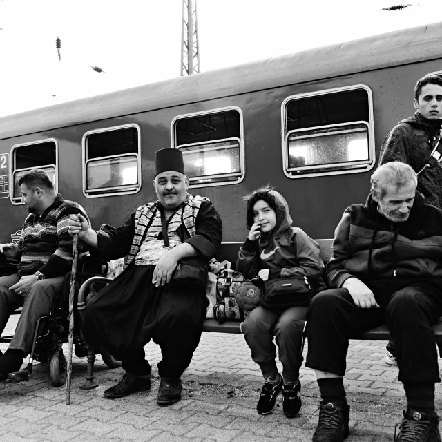 """""""refugees leaving Hungary"""" stock image"""