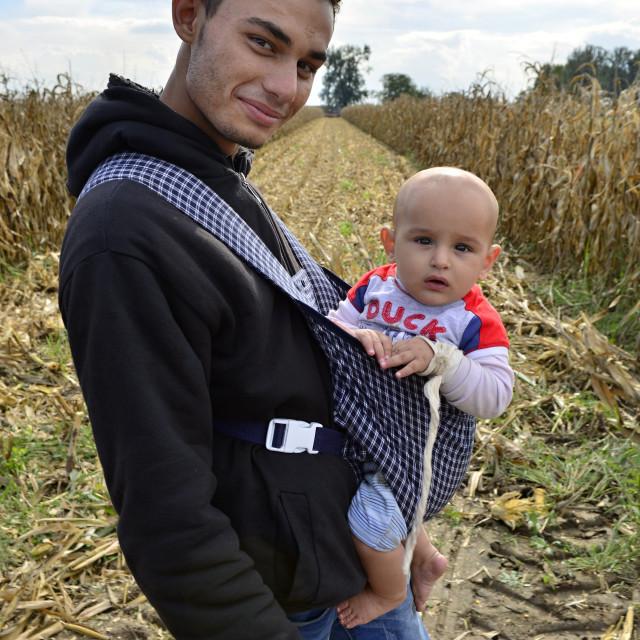 """refugees in Sid (Serbian - Croatina border)"" stock image"