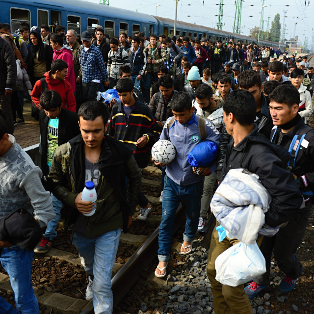 """refugees leaving Hungary"" stock image"