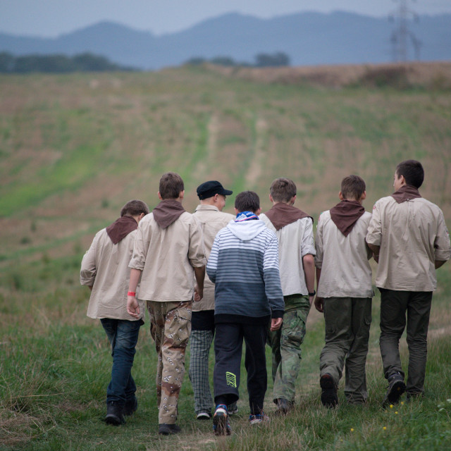 """""""Czech scouts during finaly round of Svojsik race"""" stock image"""