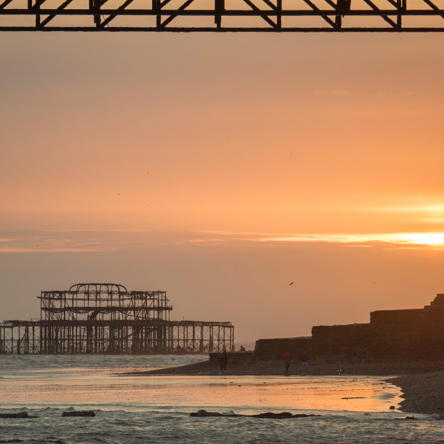 """West Pier at Sunset"" stock image"