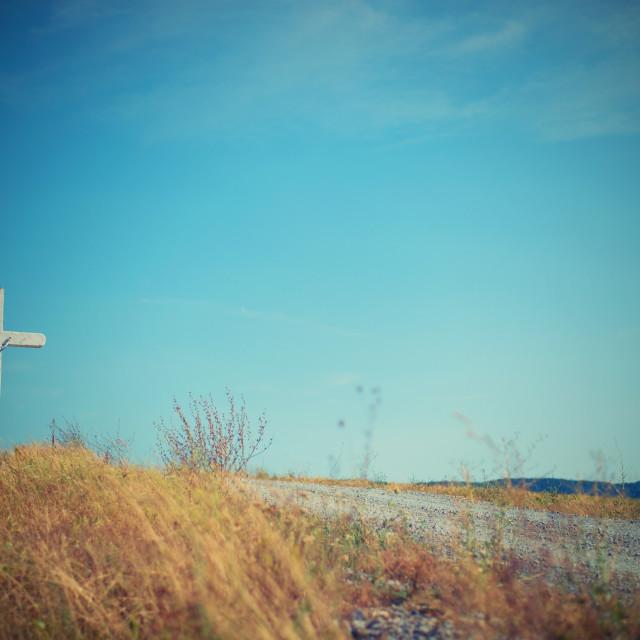"""""""cross in field"""" stock image"""