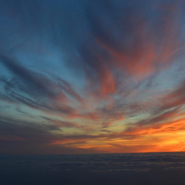 """Cloud pattern: sunset sky"" stock image"