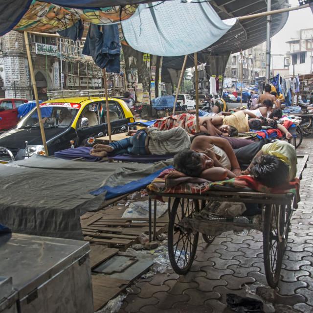 """""""SIDEWALK SLEEPING BERTHS"""" stock image"""
