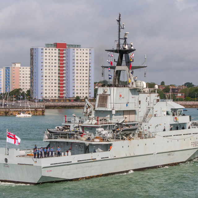 """HMS Severn (P282) at Portsmouth."" stock image"