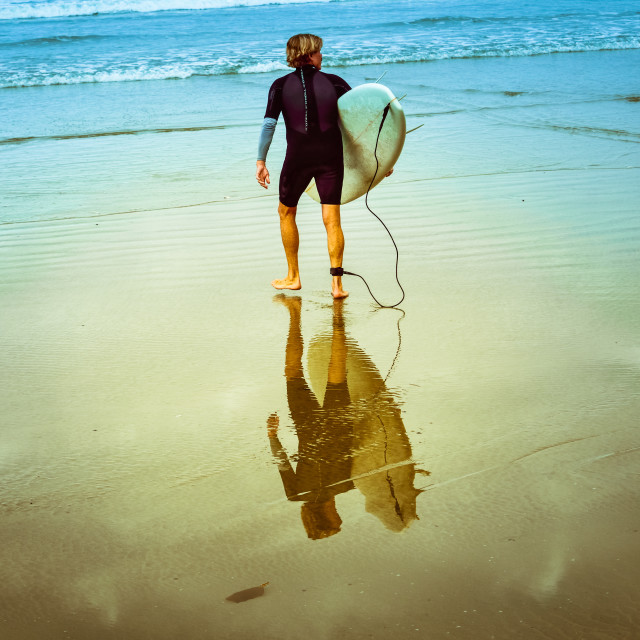 """Surfers Reflection"" stock image"