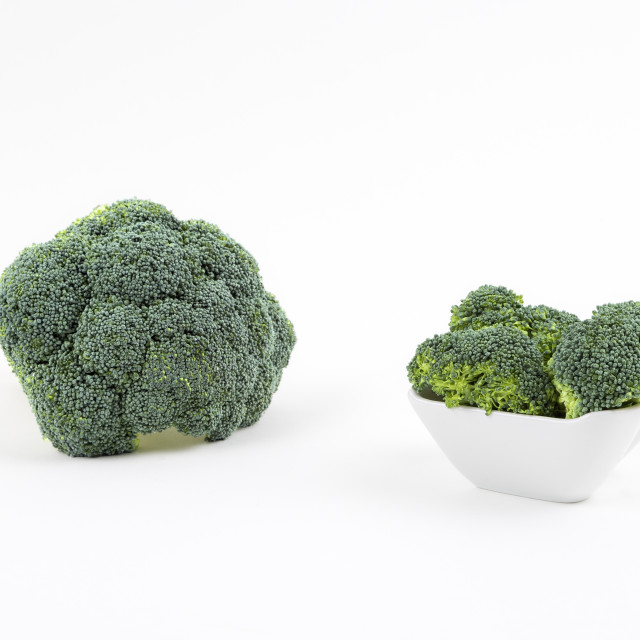"""Fresh broccoli in a porcelain bowl"" stock image"