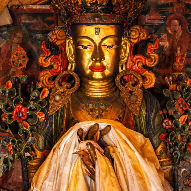 """""""Maitreya Buddha statue"""" stock image"""