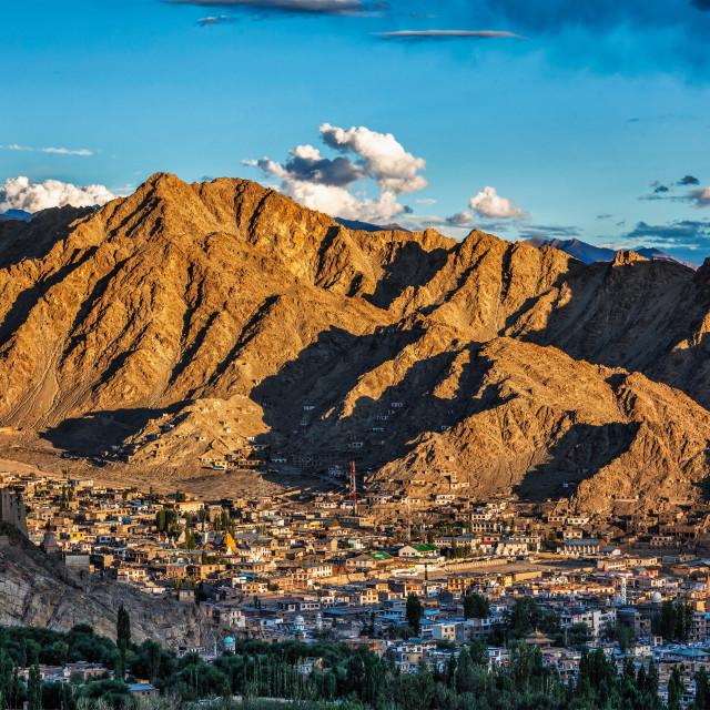 """Aerial view of Leh town in Ladakh"" stock image"