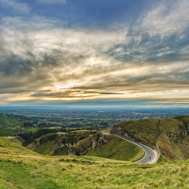 """Dusk view from Te Mata"" stock image"