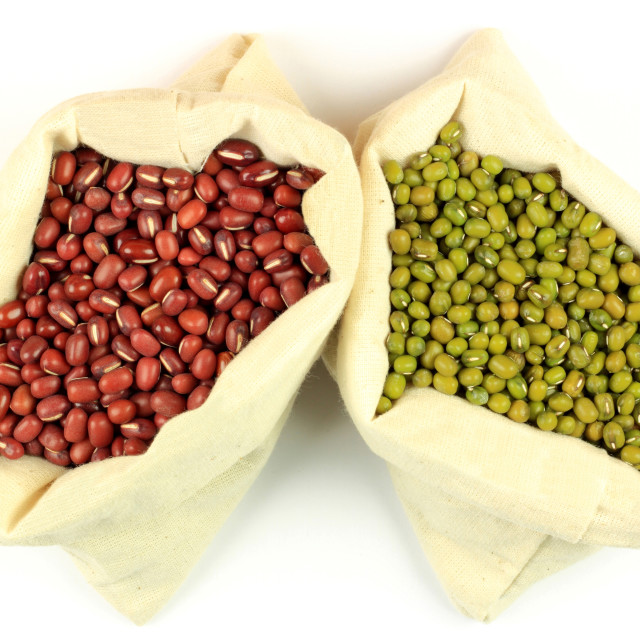 """""""Organic Azuki and Mung Beans in Fabric bags."""" stock image"""