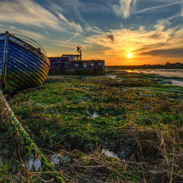 """Sunset Over Landermere Quay Boats 1"" stock image"