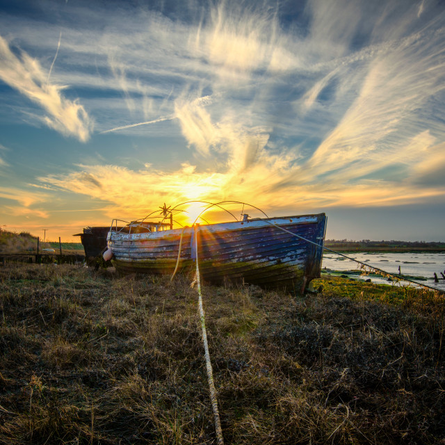 """Sunset Over Landermere Quay Boats 2"" stock image"