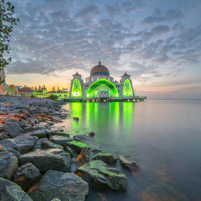 """""""Malacca Straits Mosque (Masjid Selat) during sunrise"""" stock image"""