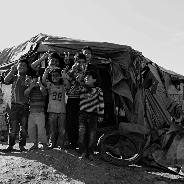 """people in refugee camp"" stock image"