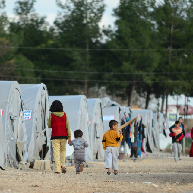 """""""people in refugee camp"""" stock image"""