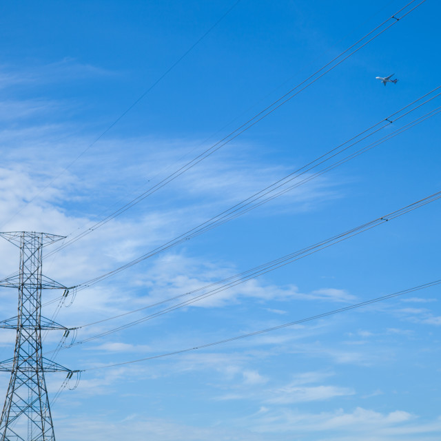 """""""High voltage towers."""" stock image"""