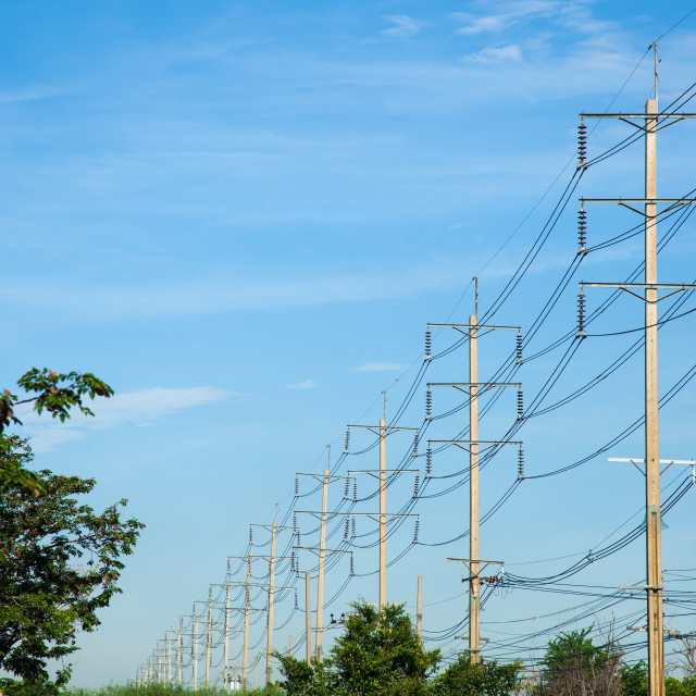 """High voltage towers."" stock image"