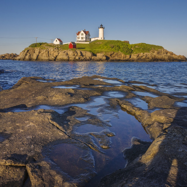 """Nubble light house, York, Maine"" stock image"