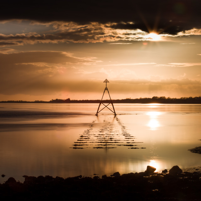 """Sunset at The Loughor Estuary"" stock image"