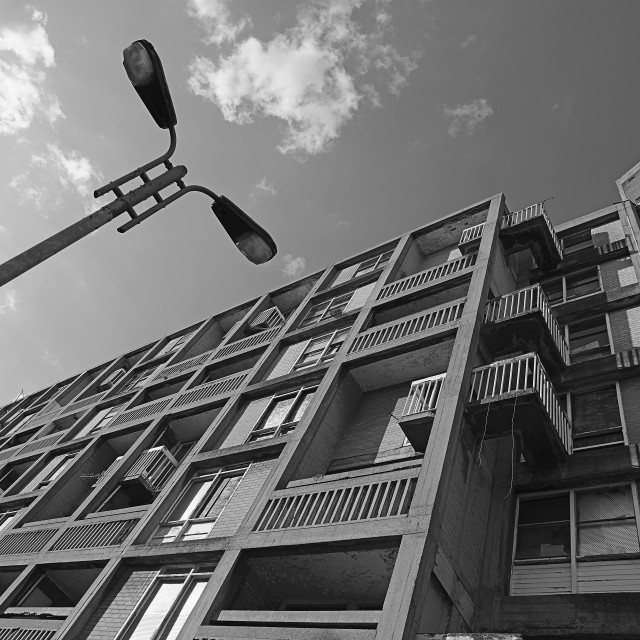 """""""Looking up at Park Hill Flats"""" stock image"""