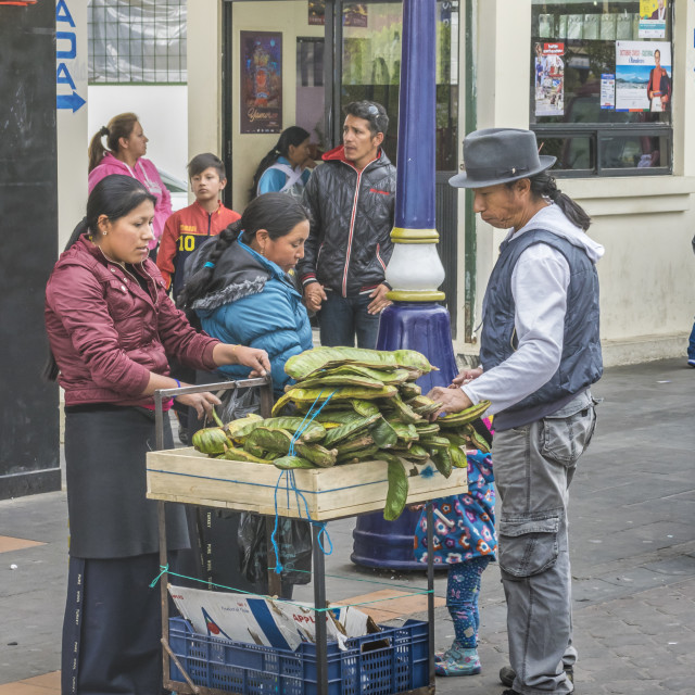 """Woman Street Vendors at Historic Center of Quito"" stock image"