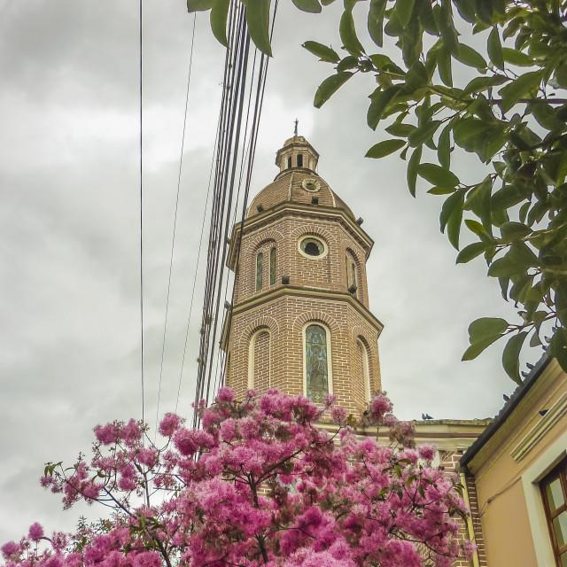 """""""San Luis Church Otavalo Ecuador"""" stock image"""