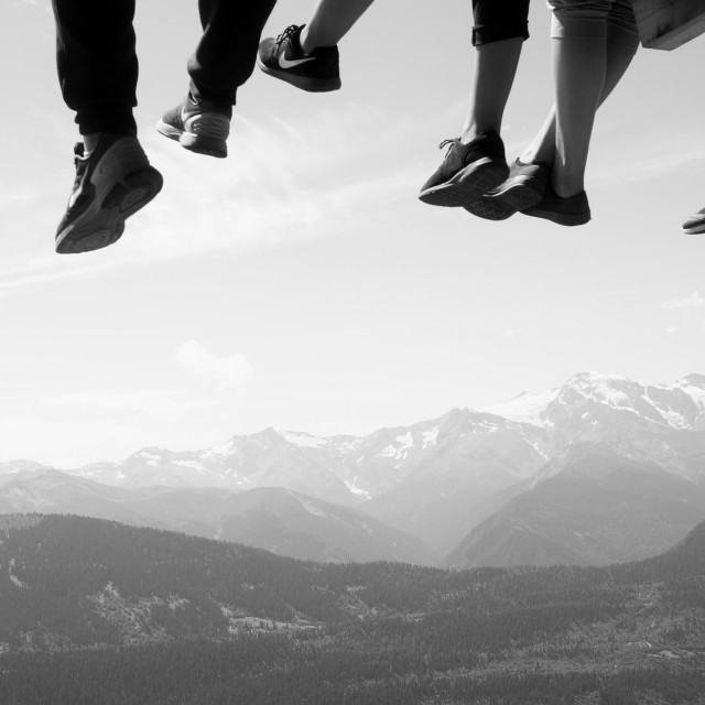 """Dangling feet over the Caucasus"" stock image"
