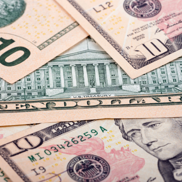 """""""American ten dollars, a background"""" stock image"""