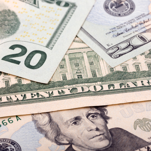 """American twenty dollars, a background"" stock image"