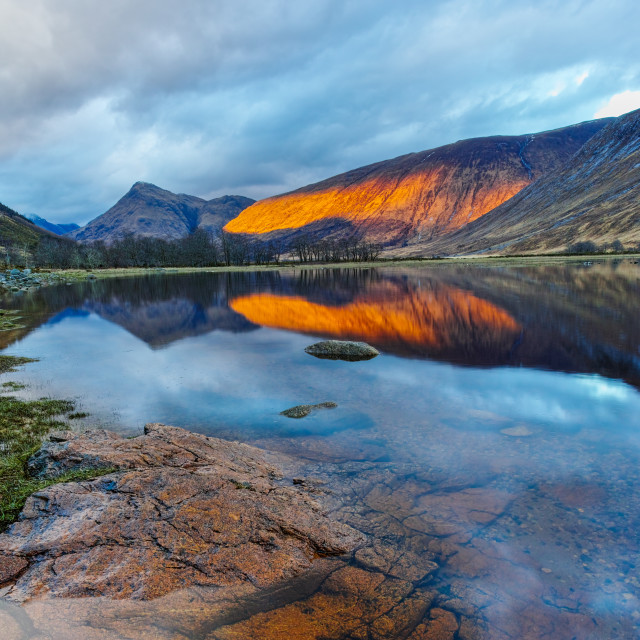 """Glen Etive sunset"" stock image"