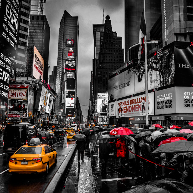 """Times Square In The Rain"" stock image"