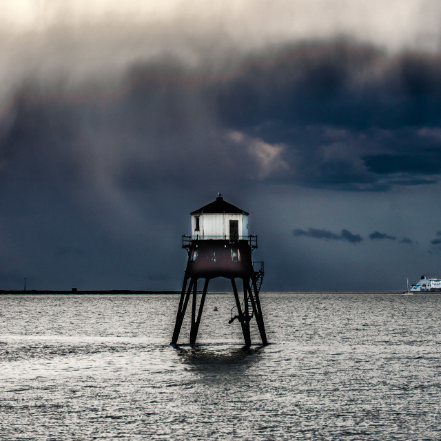 """""""Spot The Seagull On A Stormy Night"""" stock image"""